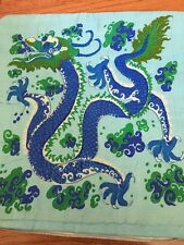 "THAI 100% SILK THROW PILLOW CASE Chinese Dragon Landscape Lined16""X16""  New"
