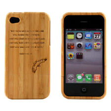Apple iPhone 4 4S 4G Case Bamboo Engraved Isaiah 40:31 Cover Natural Hard Wood