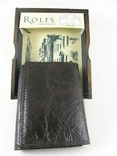 Rolfs Men's Genuine Leather Trifold Wallet Brown with Wood Valet Gift Box New
