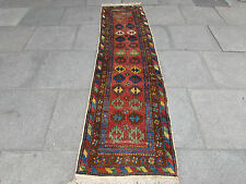 Antique Traditional Hand Made Runner Persian Red Wool Narrow Runner 260x70cm