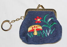 Vintage 60s Embroidered Mushroom Coin Purse Wallet Denim Hippie Boho Keychain