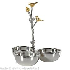 Birds Triple Entree Dish Silver Gold Coloured Party Serving Plater Food