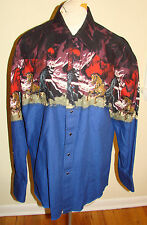 Men's Vintage Wrangler Western Shirt Blue with Mustang Wild Horse Pattern Large