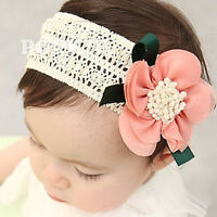 Cute Newborn Infant Baby Girls Lace Flower Headband Lovely Elastic Hair Band