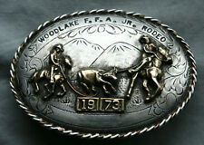 Vtg Cowboy Horse Rodeo Calf Roping Sterling Silver Western Trophy Belt Buckle