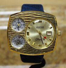 Mortima Mayerling Gold Tone Compass Thermometer Hand Wind Mechanical Date Watch