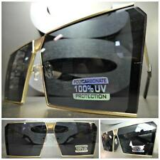 Mens or Women CLASSIC VINTAGE RETRO SHIELD Style SUNGLASSES Gold Frame Dark Lens