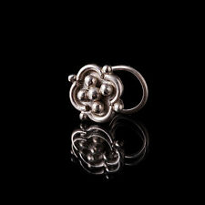 Ornate Silver Nose Stud 0.8mm Wire (Code 8) Hippy/Tribal Body Jewellery