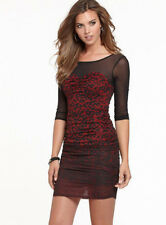 NWT GUESS $98 Bandida Mesh Sexy!! dress Animal print Black Red XS 1 2 3