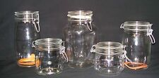 VTG CLEAR GLASS CANISTER WIRE BALE TOP FRANCE ITALY HEAVY WEIGHT STORAGE JAR LOT