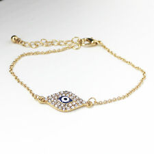 Fashion Hamsa Hand of Fatima Evil Eye Bracelet Clear Crystal Decor Jewelry