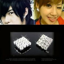 Sparkling Magnetic Stud Earrings Square Gem