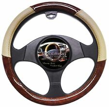 Wood Grain Car Steering Wheel Cover Beige Tan Luxury Vinyl Grip