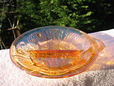 Vintage  Orange Marigold Carnival Glass Indiana Iridescent Divided Dish Bowl