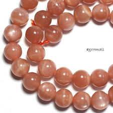 "Peach Moonstone Round Beads ap. 8mm 15.5"" #74263"
