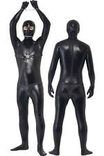 Mens Gay Fetish Faux Leather Bondage Zipper Bodysuit Kinky PVC Clubwear 32-34 L