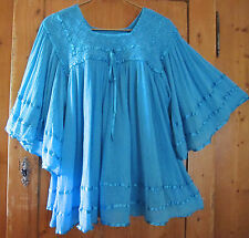 Vintage 70s Mexican Dress Crochet Blue Gauze Boho Hippie Angel Festival Mini M