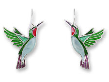 Zarah Zarlite HUMMINGBIRD EARRINGS Silver Plated Dangle BIRD - Gift Wrapped Box