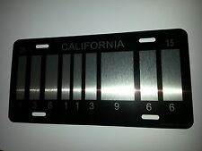 BLACK Back to the Future / Delorean /BAR CODE futuristic LICENSE PLATE,outatime