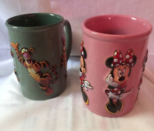 Two Disney Store  Ceramic Coffee Mugs/ Cups - Tiger Green and Minnie Mouse Pink