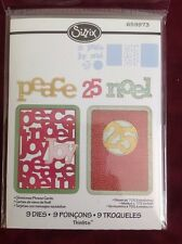 Sizzix Thinlits Set Christmas Phrase Cards Peace Noel 9 Flowers Leaves 659973