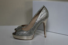New 12 / 42 Jimmy Choo Crown Silver Glitter Peep Toe Platform Sandal Pump Shoe
