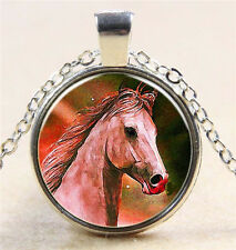 Vintage Horse Cabochon Silver plated Glass Chain Pendant Necklace #D113