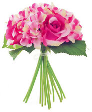Artificial Pink Rose and Hydrangea Mix Bouquet