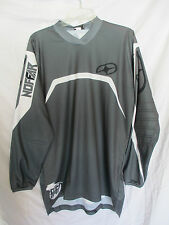 NO FEAR '08 motocross jersey COMBAT adult small gry/wht MX ATV FMX off road