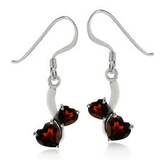 1.64ct. Natural Heart Shape Garnet 925 Sterling Silver Dangle Earrings