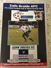 Cefn Druids AFC v Rhyl FC Football Programme (Season 2014-2015)