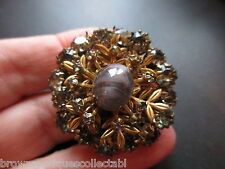 ANTIQUE VINTAGE RARE GOLD PTD CZECH GLASS SMOKEY QUARTZ BROOCH PIN VERY PRETTY