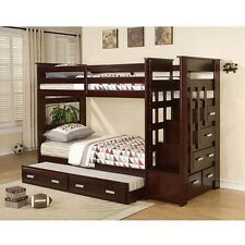 Children Bedroom Bunk Beds Boys Girls Wooden Bed Stairs Modern Twins Furniture