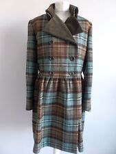 Lovely Toast Wool Blue & Brown Check Double Breasted Velvet Collared Coat, UK 12