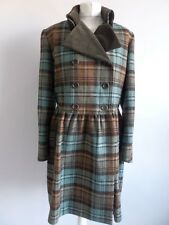 Lovely Toast Lana Blu & Brown controllo doppio petto cappotto con Colletto in Velluto, UK 12