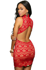 Sexy Red Lace Nude Illusion Keyhole Back Mini Dress Small