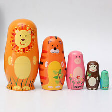 5PCS Animale Forma Matrioska Russa Matriosca Matriosche Babooshka Bambole Russe