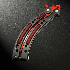 Practice BALISONG METAL BUTTERFLY Tactical Combat Trainer Knife with Sheath