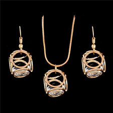 Wedding Necklace earrings 18k Gold Filled Rhinestone jewelry sets party