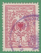 Albania Peoples Rep Takse Pulle Revenue Barefoot #10 used 5L red 1952 cv $23