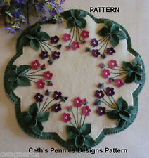 """""""Garden Violets"""" Wool Penny Rug Candle Mat  *PATTERN*"""