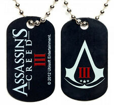 Assassins Creed 3 III Logo Metal Dog Tag w/ Ball Neck Chain Necklace Jewelry NEW