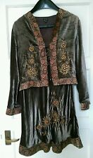 east silk blend velvet jacket and skirt hippy boho 10