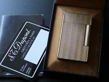 Beautiful Rare Pattern S T Dupont Line 2 Large Gold Plated Lighter-Boxed Papers