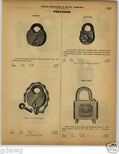 1922 PAPER AD Early Combination Keyless Padlock Pin Tumbler Railroad Swtch