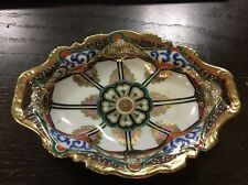 "Vintage Hand gold leaf Painted Nippon China Relish Serving Dish 7"" L Beautiful"