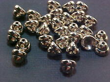 Vtg 100 SHINY SMOOTH ROUNDED SILVER BELL METAL BEAD CAPS #020712c