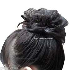 Jet Black Scrunchie Hair Piece Ponytail Bun Hair Extensions Hair Wrap Elastic