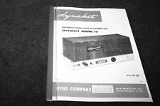 Dynaco MK-4 tube amplifier assembly manual reprint Dyna Dynakit Mark IV