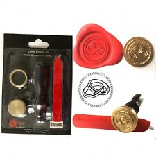 WAX SEALING KIT Joined Wedding Rings Letter Invitation Seal Stamp Gift Present